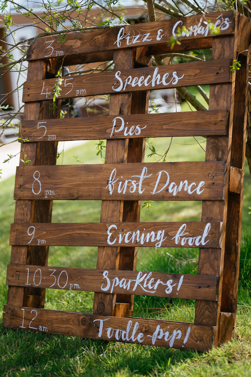 Spring tipi wedding complete with rustic wedding time line sign