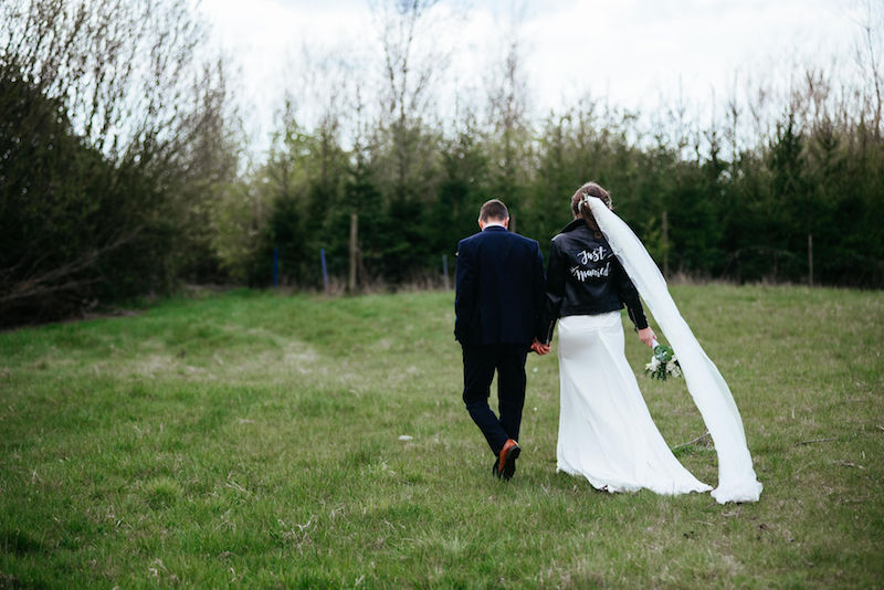"""Spring Tipi Wedding Complete with Leather Jacket """"just married"""""""