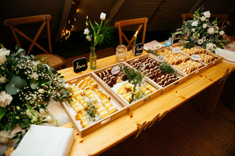 Evening Cake Table cut and ready for guests to enjoy
