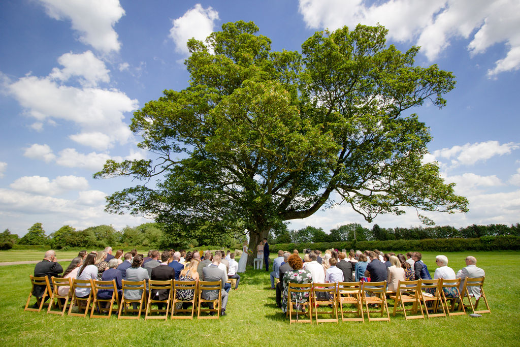 Cattows Farm Ceremony Tree setup with seating for outdoor ceremony