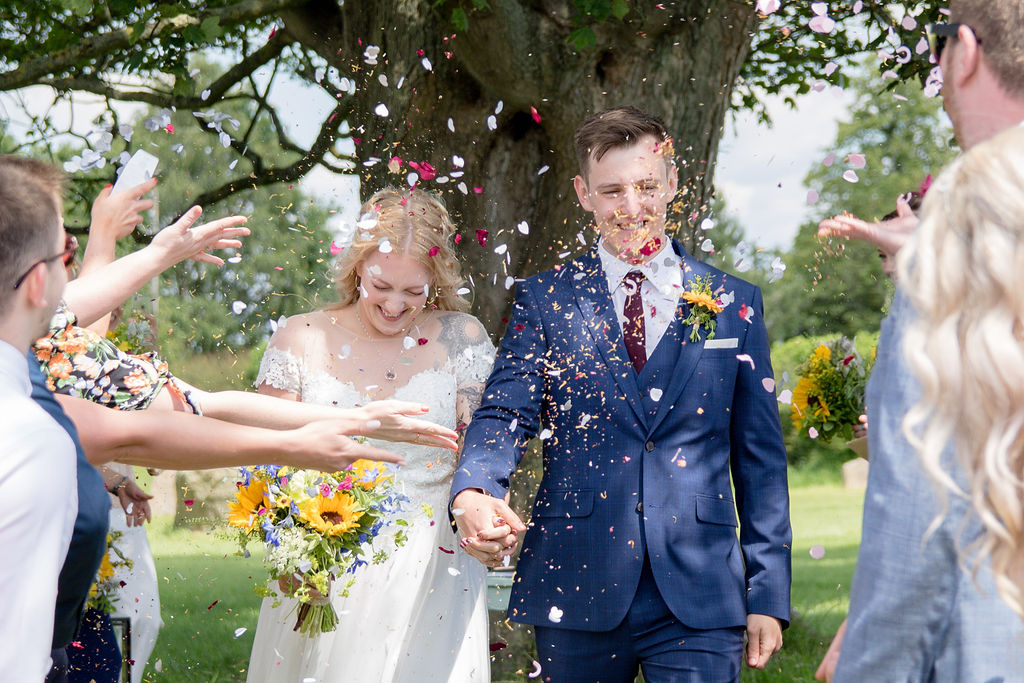 Outdoor wedding ceremony at Cattows Farm - The confetti shot