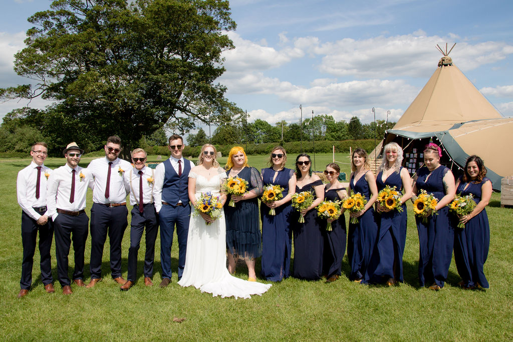 Yellow and Navy tipi wedding celebration