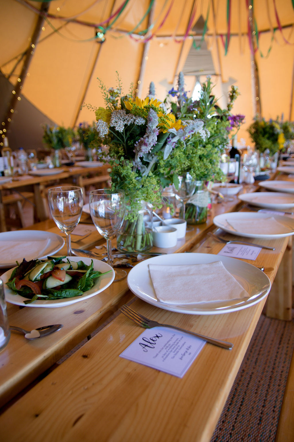 table decorations for tipi wedding at cattows farm