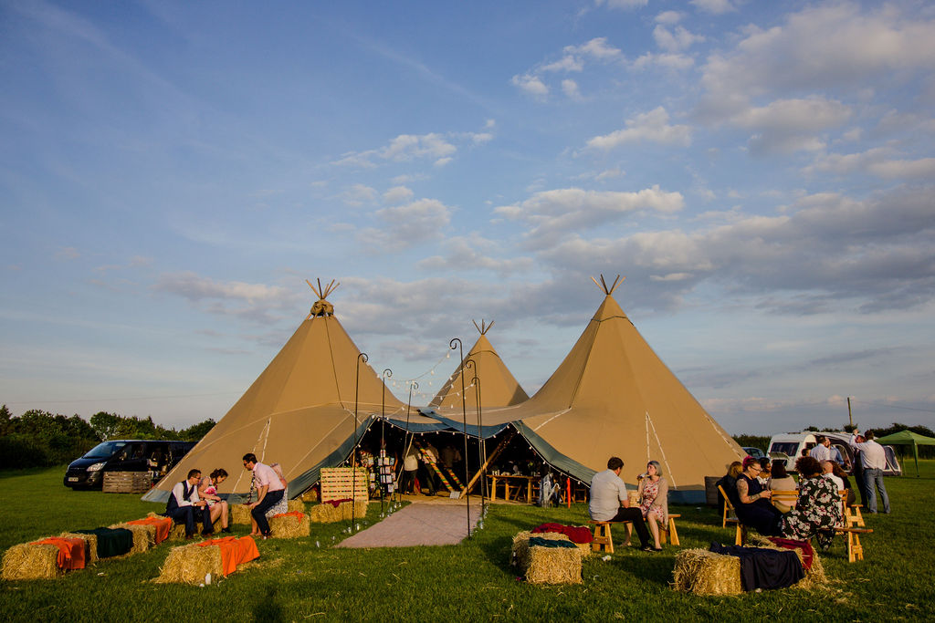 Relaxed Outdoor Wedding at Cattows Farm complete with outdoor bale seating