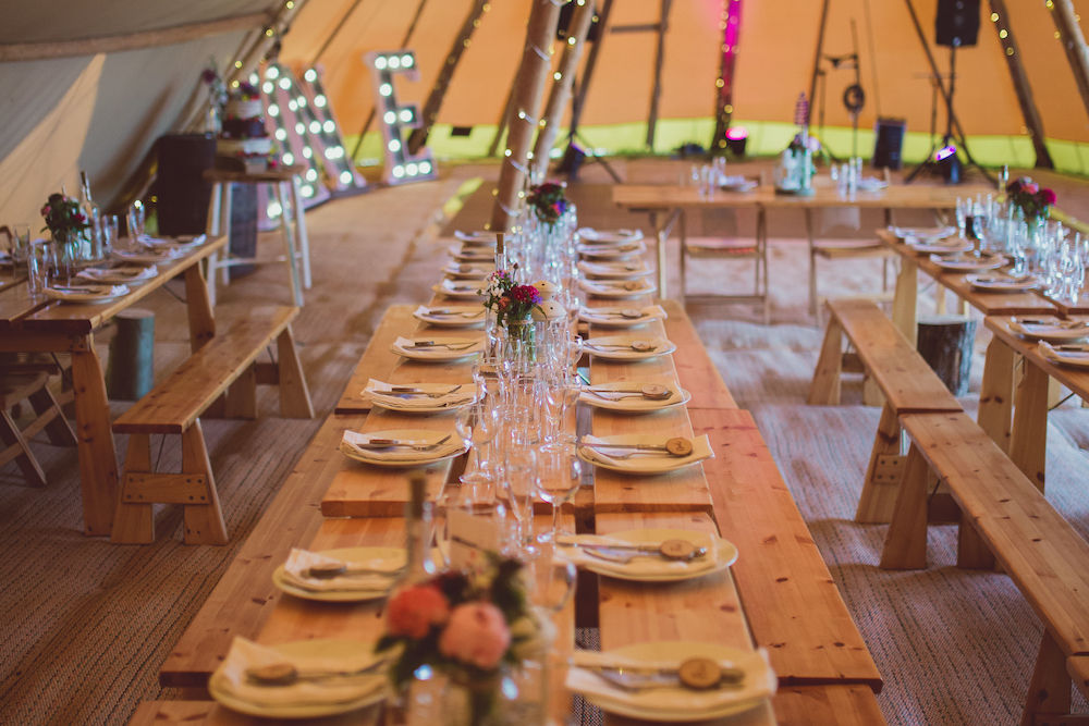 Nordic Tipi Tables setup for festival feast