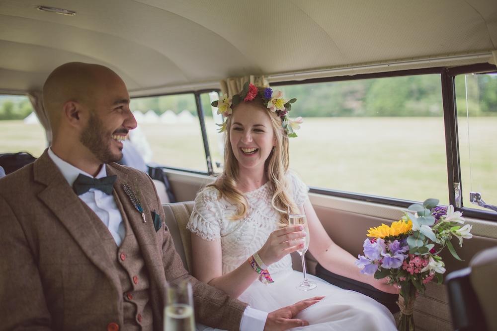 bride & groom in VW