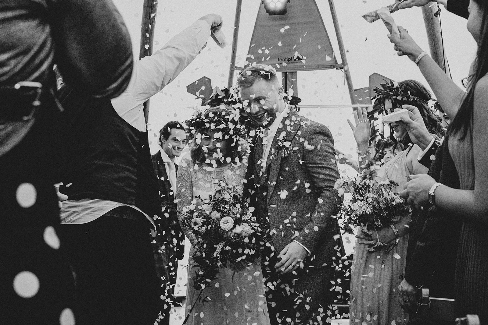 confetti shot inside the tipis at cattows farm wedding
