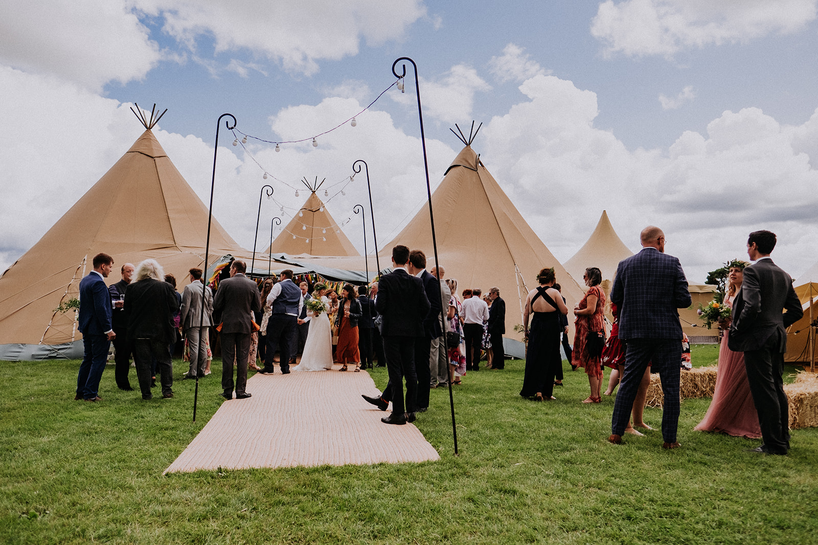 Cattows Farm Wedding with guests enjoying the space outside