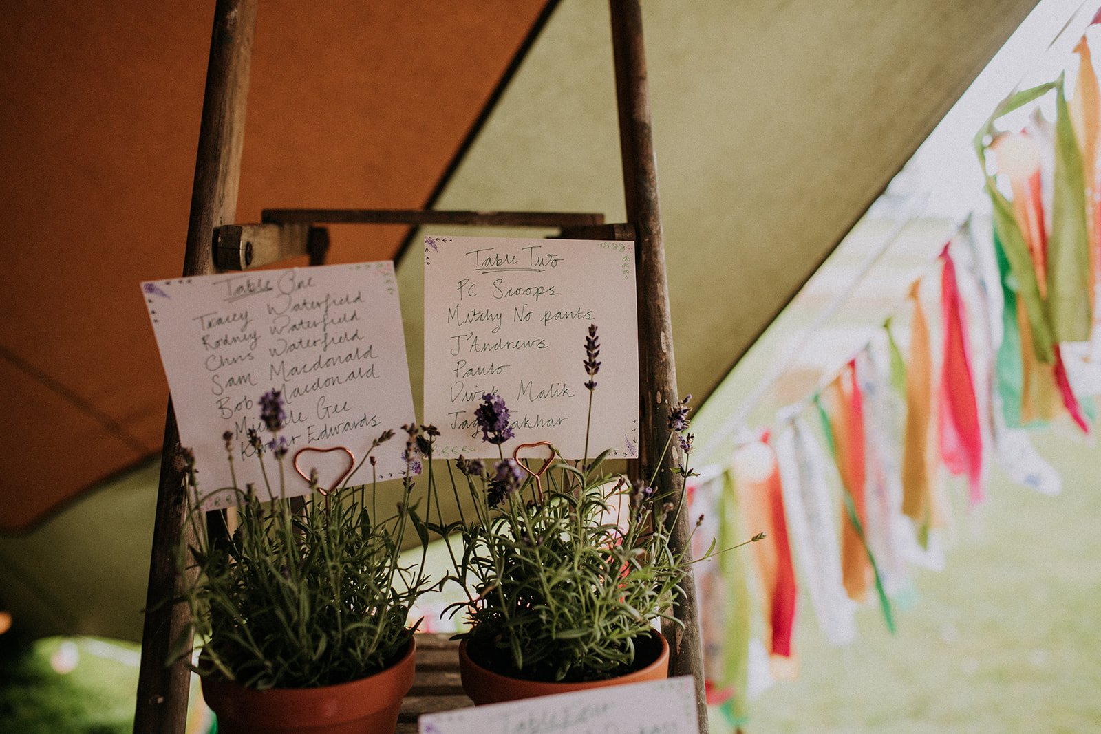 Herb Ladder seating plan - cattows farm wedding with sami tipi