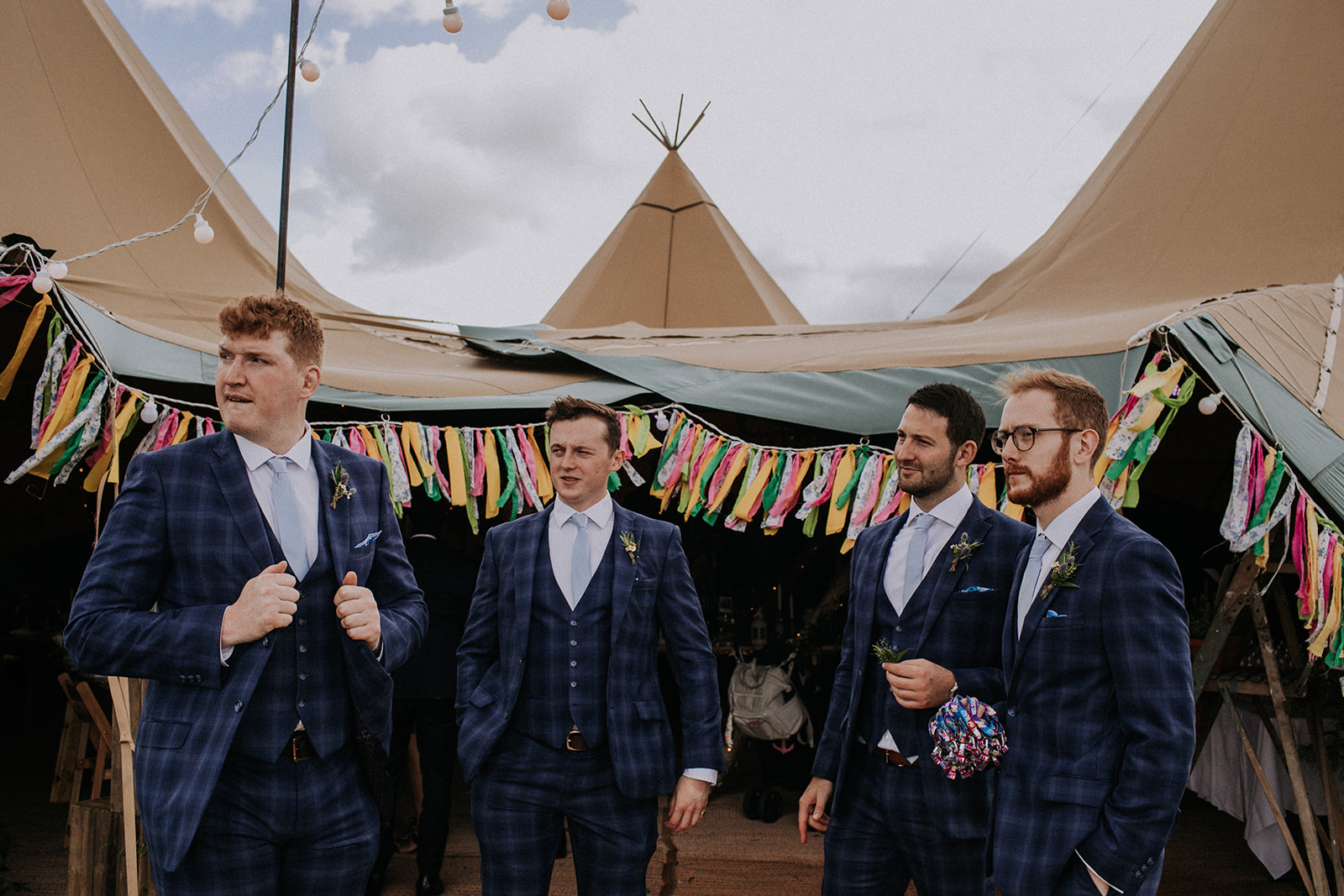 Groomsmen ready for celebrations at cattows farm wedding