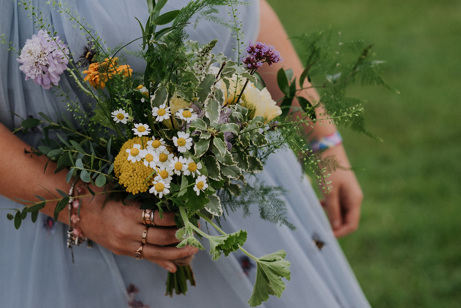 relaxed flowers for bridesmaids - ready for cattows farm wedding