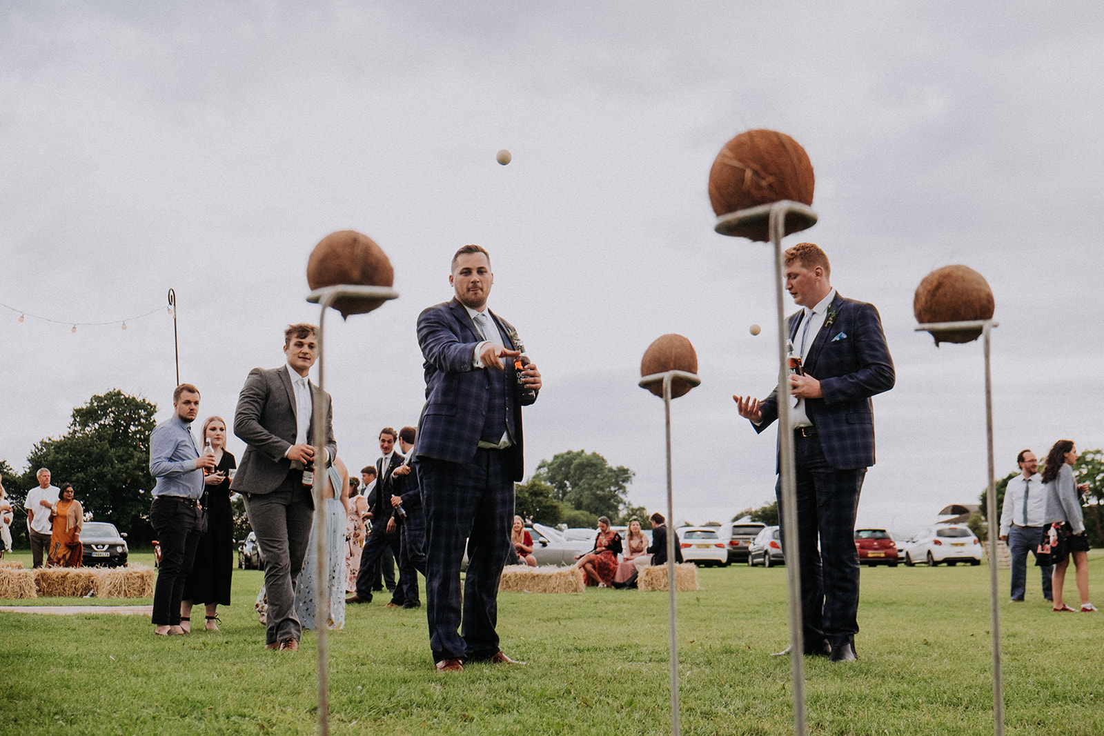 outdoor games coconut shy cattows farm wedding with sami tipi