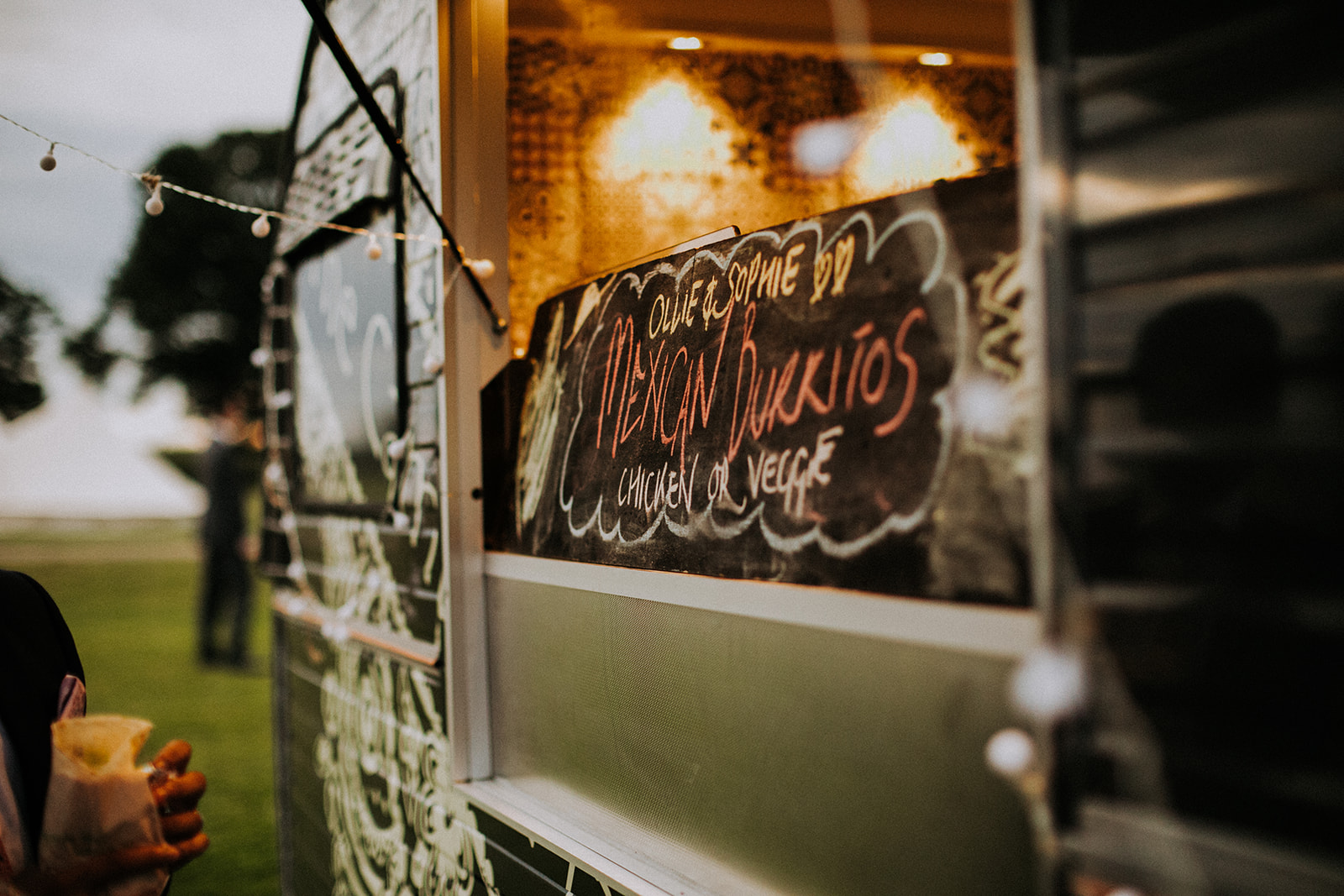 Burrito van evening food for cattows farm wedding