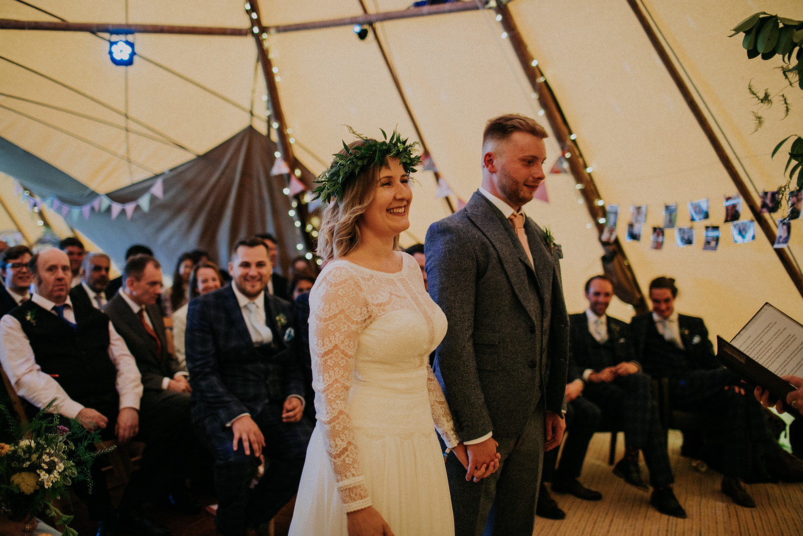 tipi wedding ceremony inside teepee at Cattows Farm Wedding