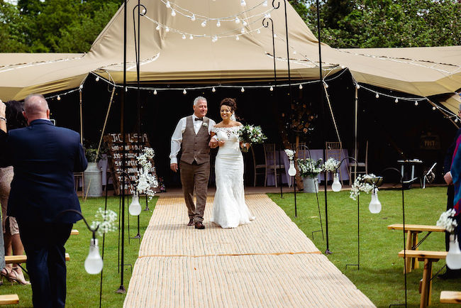 Wedding Ceremony to front of Tipis