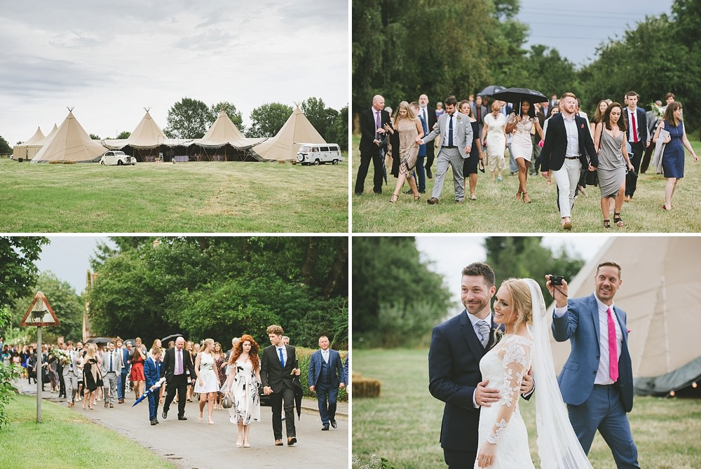 Hickling Leicestershire Tipi Wedding Guests arriving to the four giant hat tipis