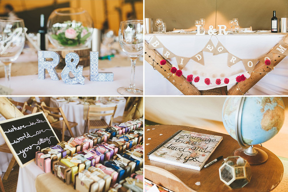 Travel themed tipi wedding styling for this Hickling Leicestershire tipi wedding celebration