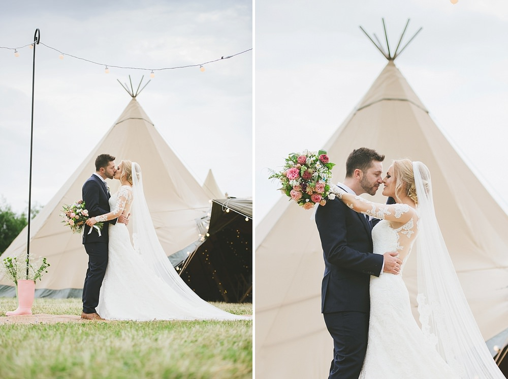 The Couple celebrating their marriage at their Hickling Leicestershire tipis