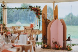 Feature boards and florals around top table