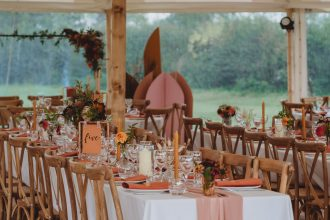 Table setup within Sailcloth Tent Marquee wedding with Sami Tipi