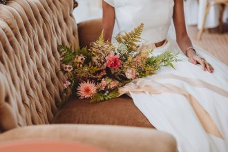 Relaxed wedding bouquet for Sailcloth Tent wedding celebration by Sami Tipi