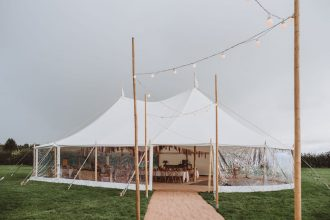 Two Pole Sailcloth Tent Entrance with Festoon Walkway