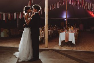 Sailcloth Tent at night with bride and groom first dance