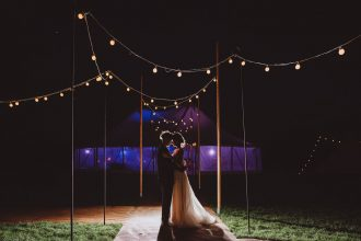 Sailcloth Tent at Night with festoon walkway