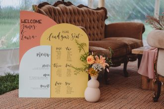 Welcome, Seating plan and Menu Boards for Sailcloth Tent Wedding by Sami Tipi