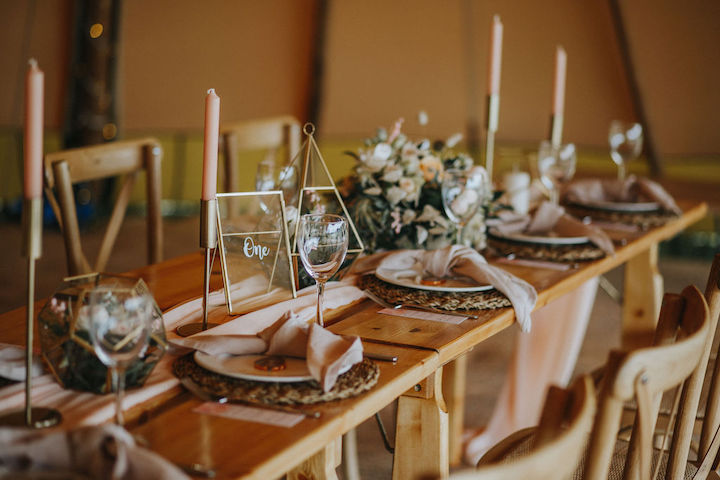 Intimate garden wedding ideas - tipi table setup for 12 guests