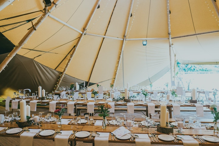 Internal Table Setup in Four Giant Hat Tipi Wedding at East Haddon Northamptonshire