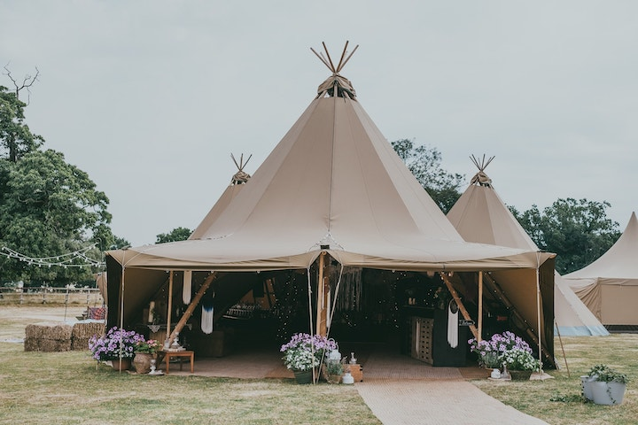 Four Giant Hat Tipi Wedding at East Haddon Northamptonshire