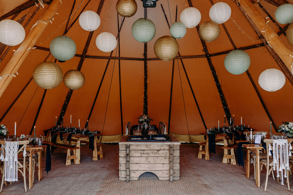 Intimate seating in one giant hat tipis
