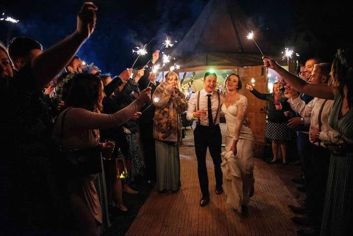 Spring Wedding Celebration with Sparkler Send Off