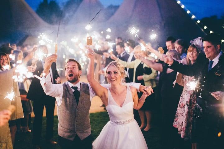 sparkler send off for tipi wedding at Bawdon Lodge Farm with Sami Tipi