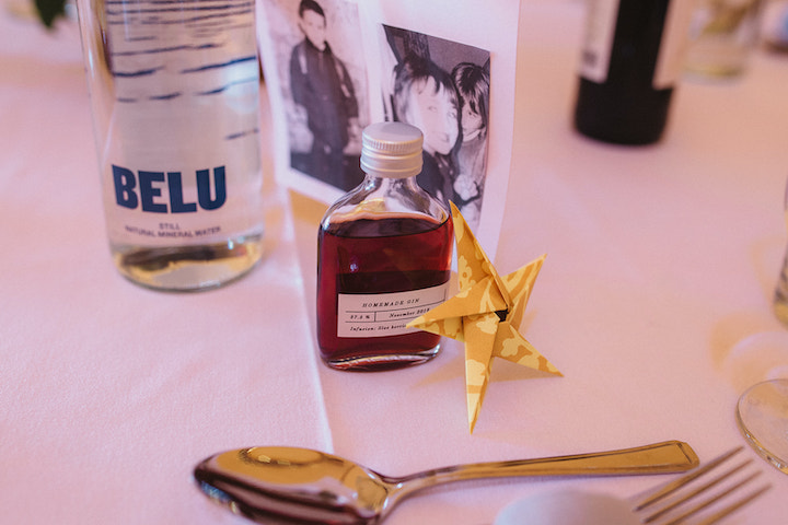 table decorations and favour