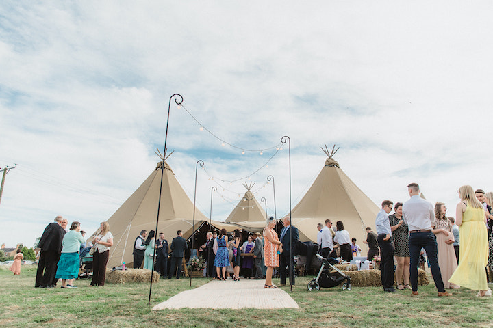 large wedding, four giant hat tipis for outdoor wedding
