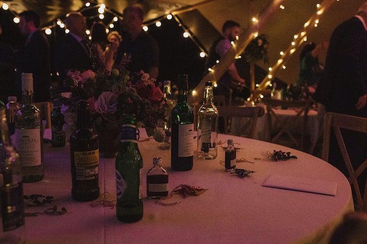 tipi interior and fairy lights at night