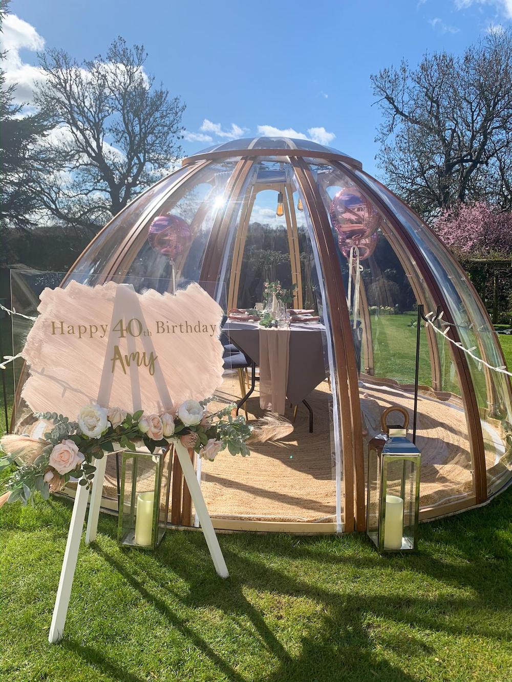Luxury Clear Dome set up for a Birthday Diner Party