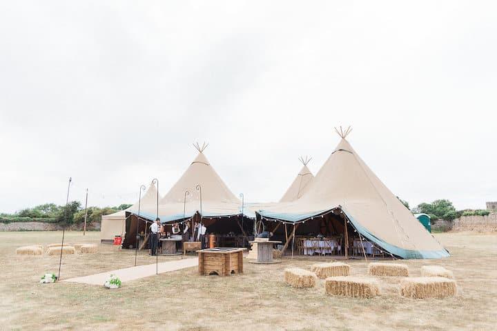 Rustic DIY Tipi Wedding, three giant hat tipis