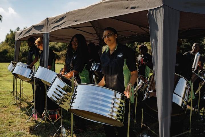 Caribbean steel drum band